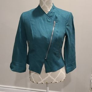 WHBM Green linen blend zippered jacket